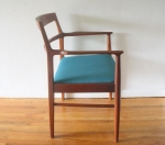 Danish teak chair with teal seat 3
