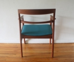Danish teak chair with teal seat 4