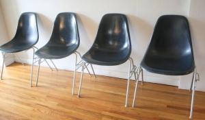 Herman Miller midnight blue fiberglass chairs 2
