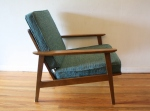 mcm arm chair with turquoise cushions 2