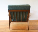 mcm arm chair with turquoise cushions 4