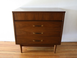 mcm bachelor dresser with brass accented handles 1