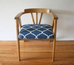 mcm blond angled chair with blue and white seat 3