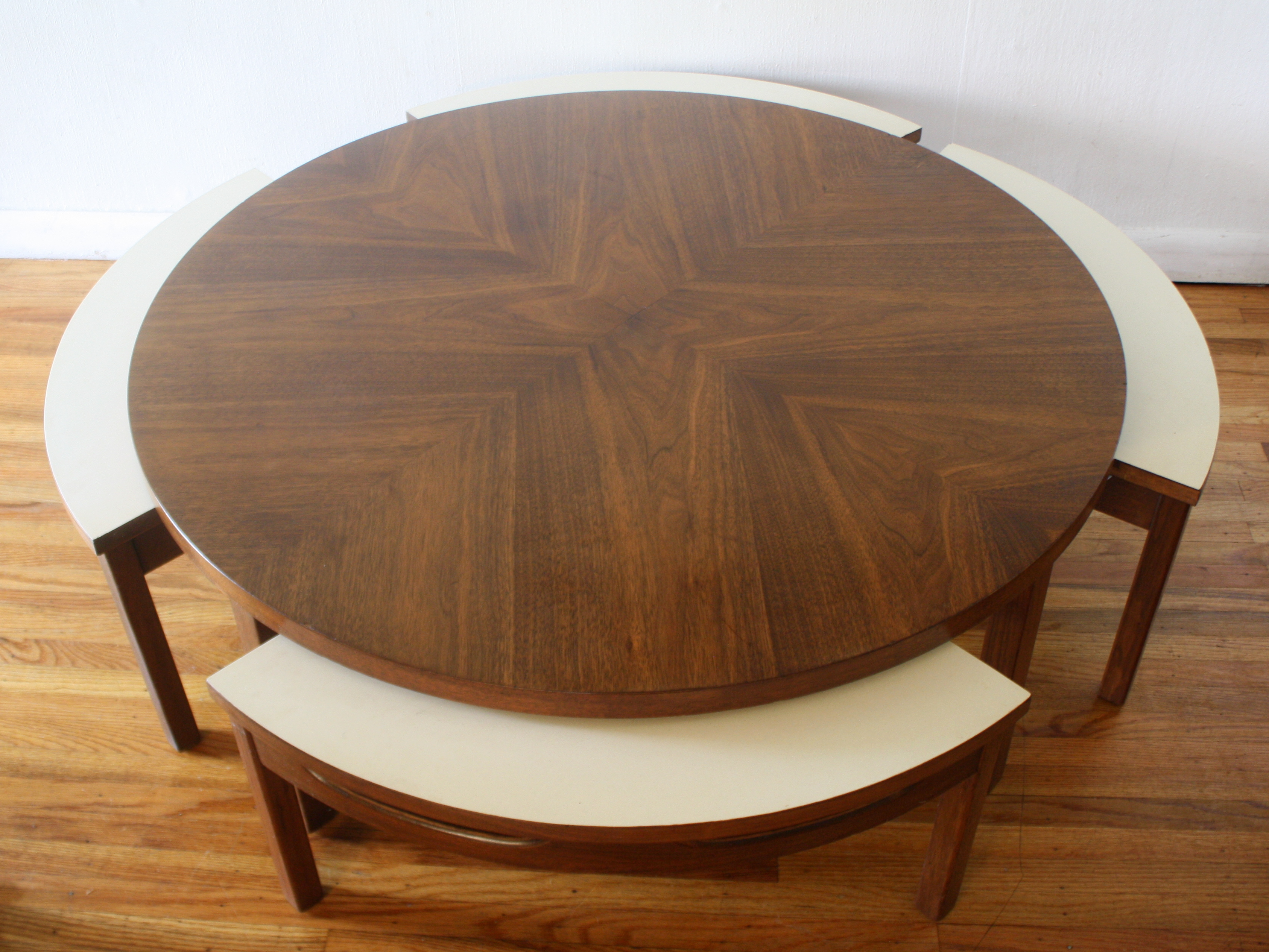 Mid Century Modern Game Coffee Table with Hidden Chairs