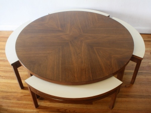 mcm game table with white seats 1