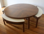 mcm game table with white seats 4