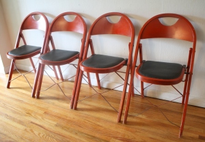 vintage red folding chairs 1