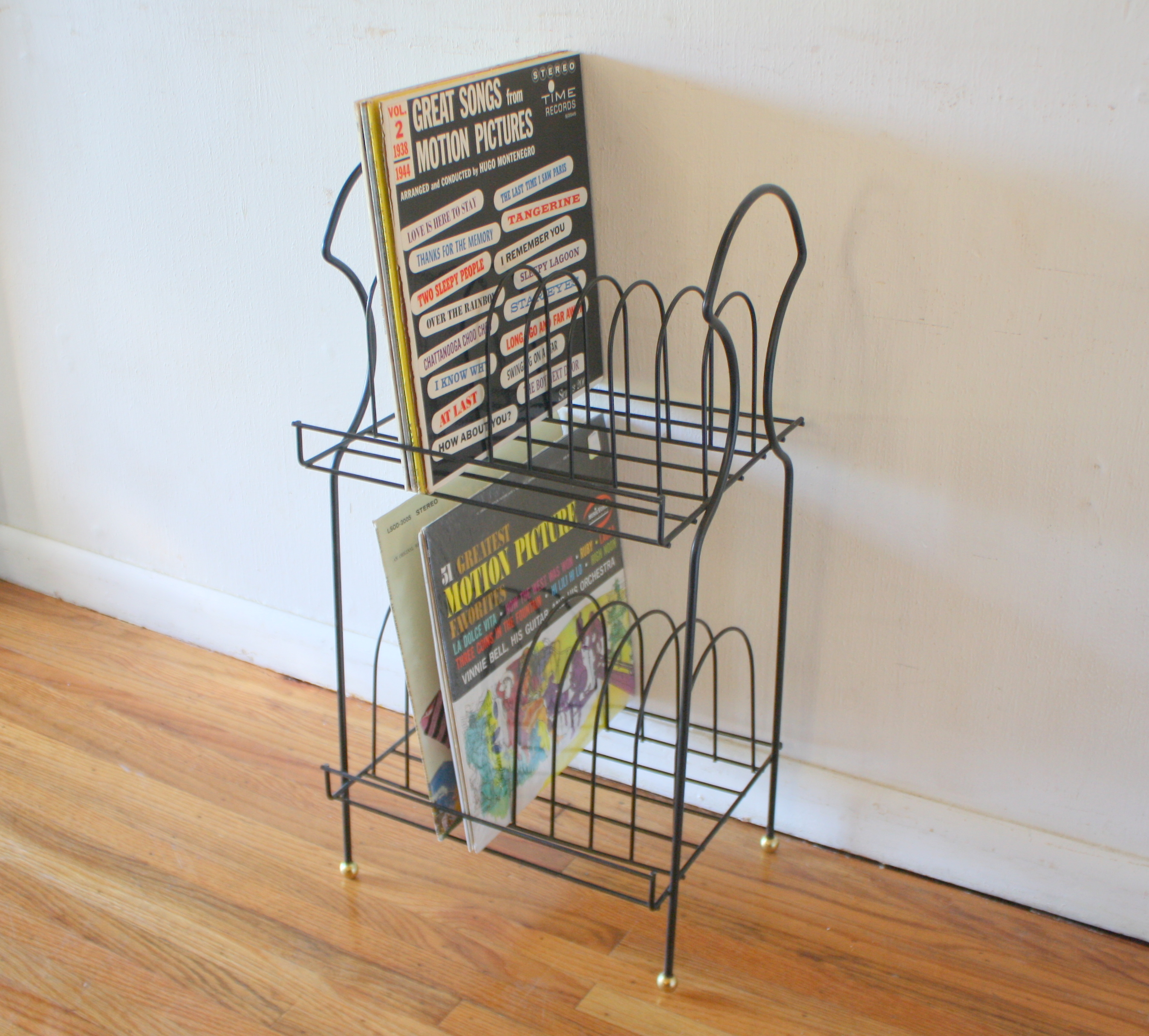mcm record rack with gold ball detail 1