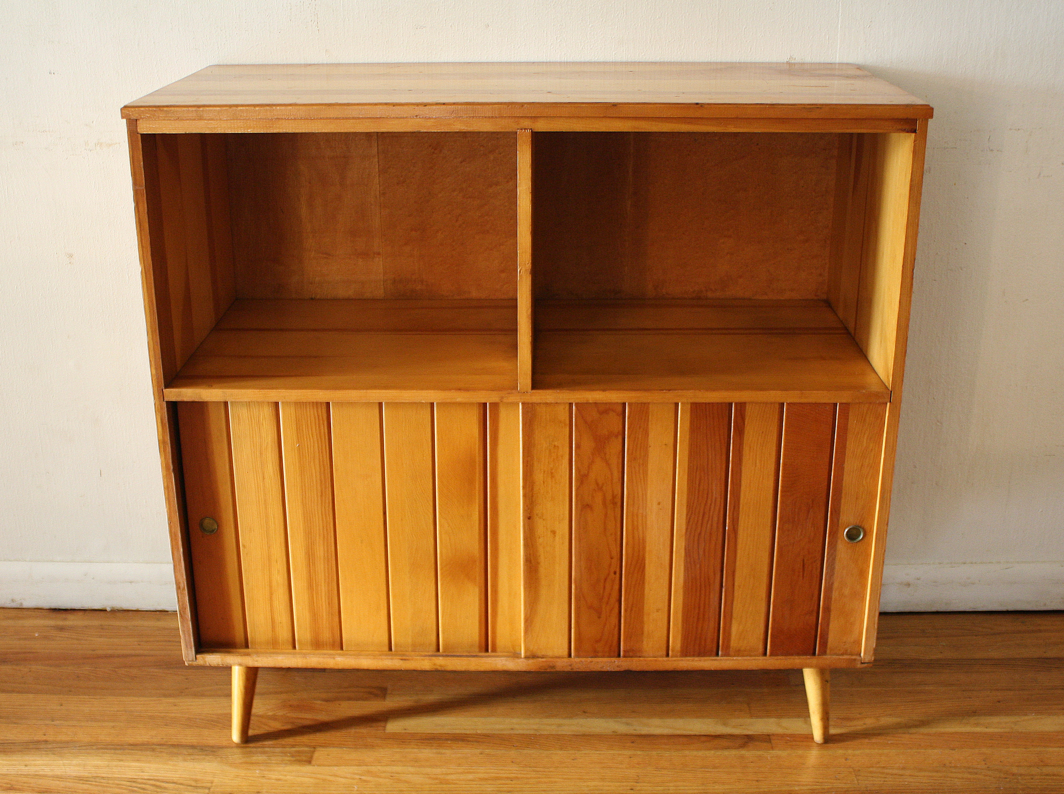 Mid Century Modern Shelf Unit With Record Storage By