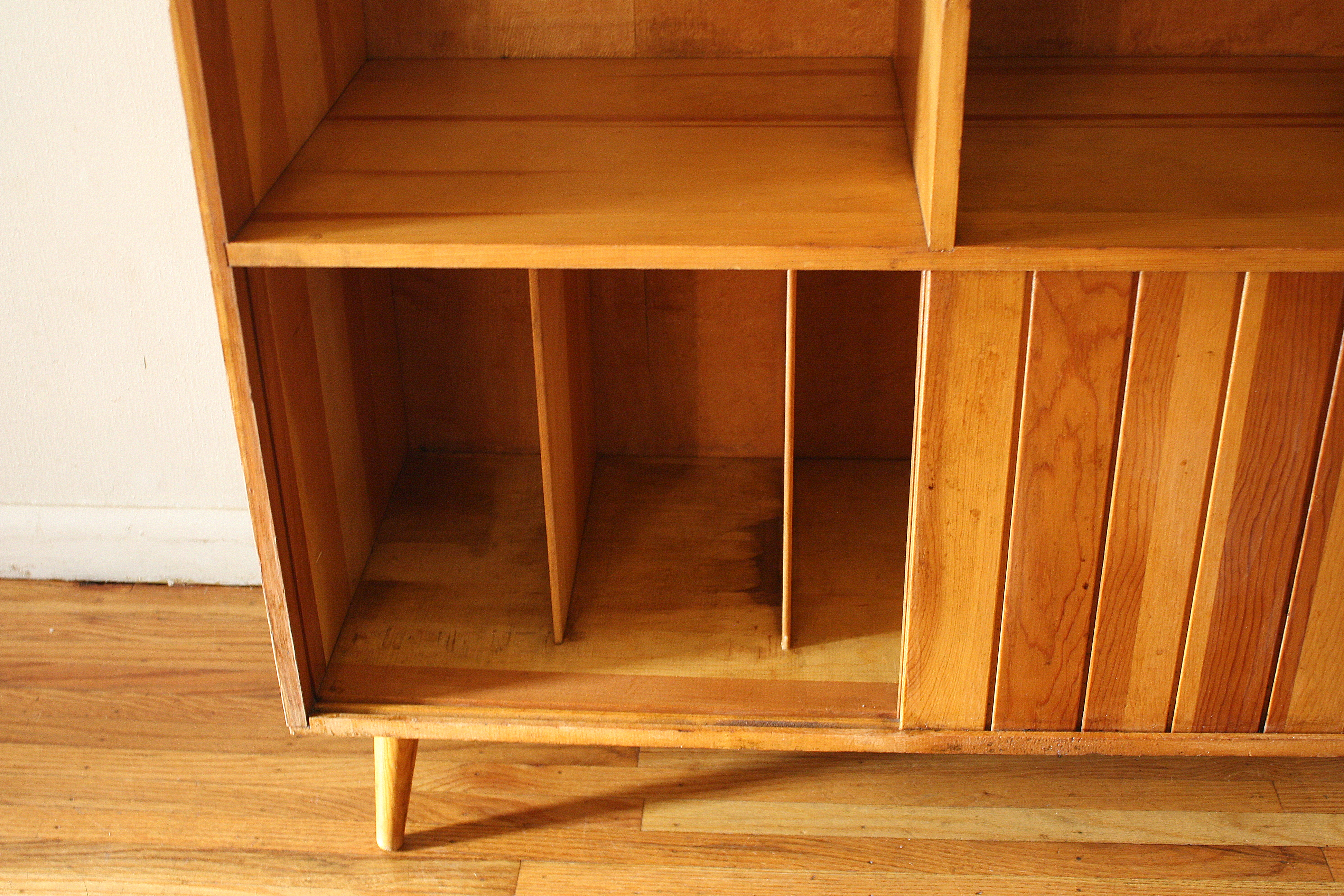 Mid Century Modern Shelf Unit With Record Storage By