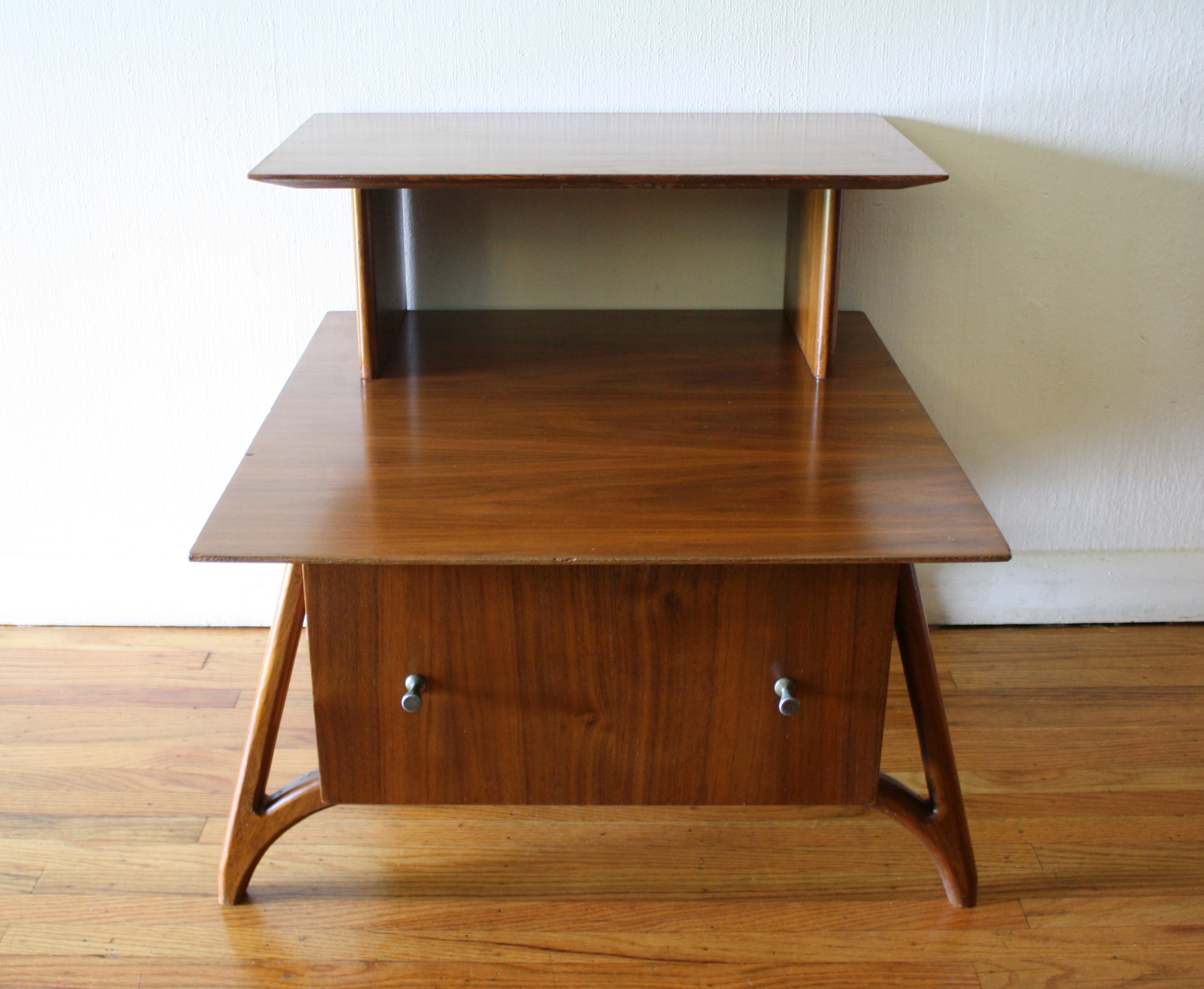 mid century modern two tiered side end tables picked vintage. Black Bedroom Furniture Sets. Home Design Ideas