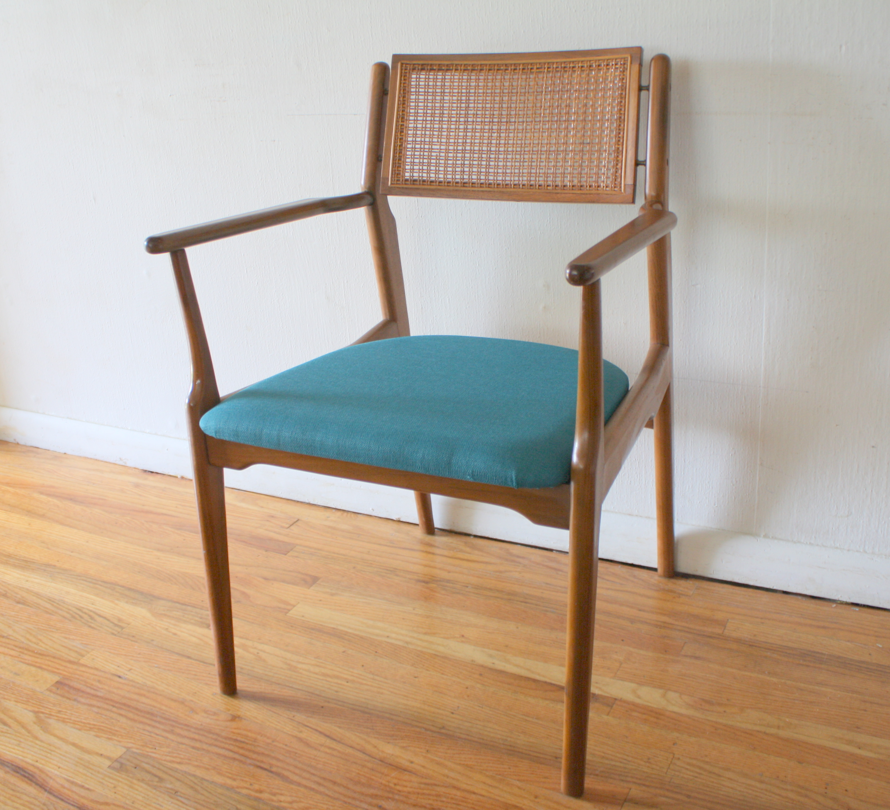 Mid Century Modern Rattan Arm Chair Picked Vintage