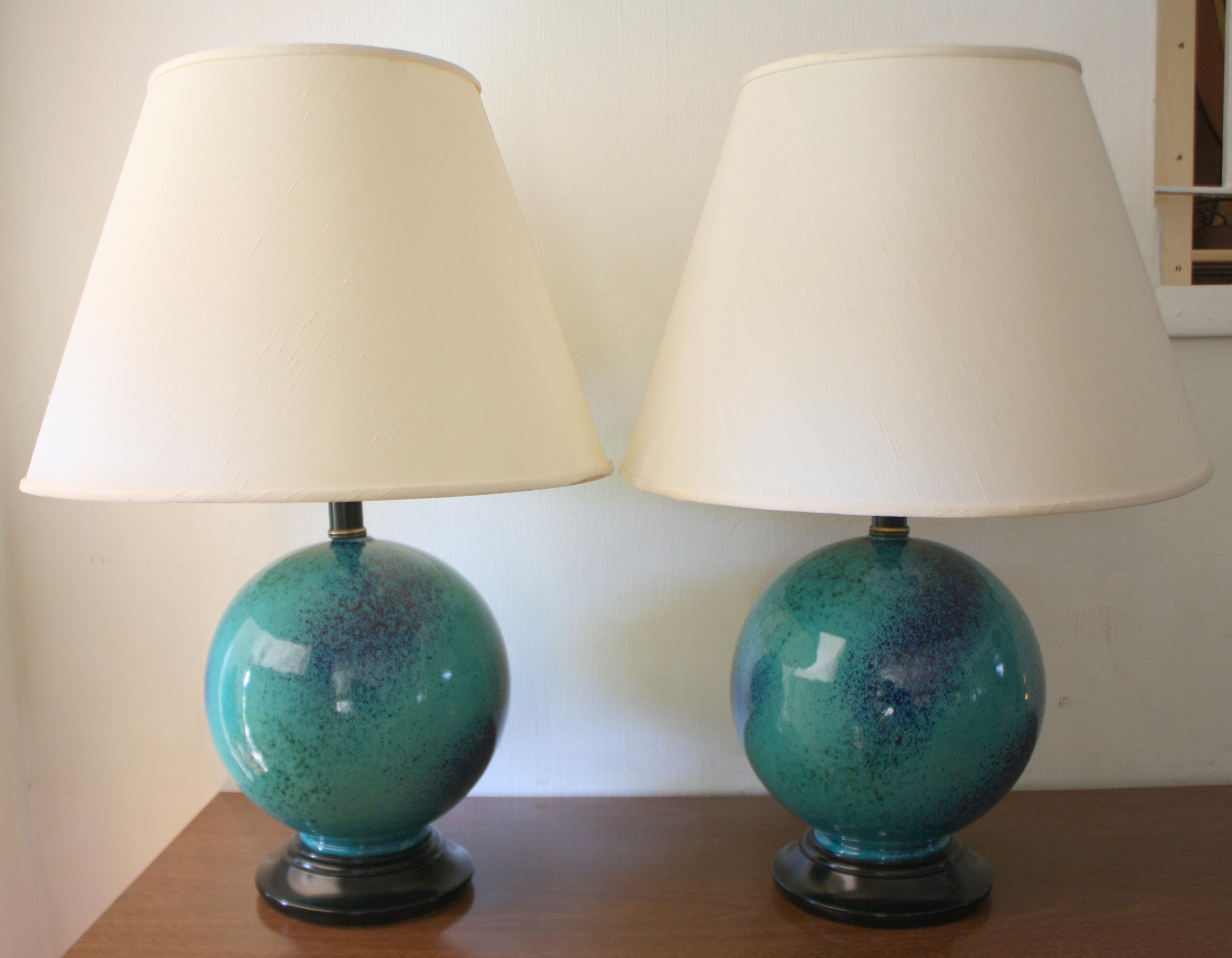 pottery globe lamps 1jpg 1 pair of mid century