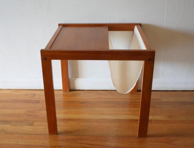 Mid Century Modern Danish Side Table With Magazine Rack