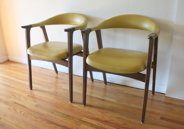 mcm pair of yellow chairs 2