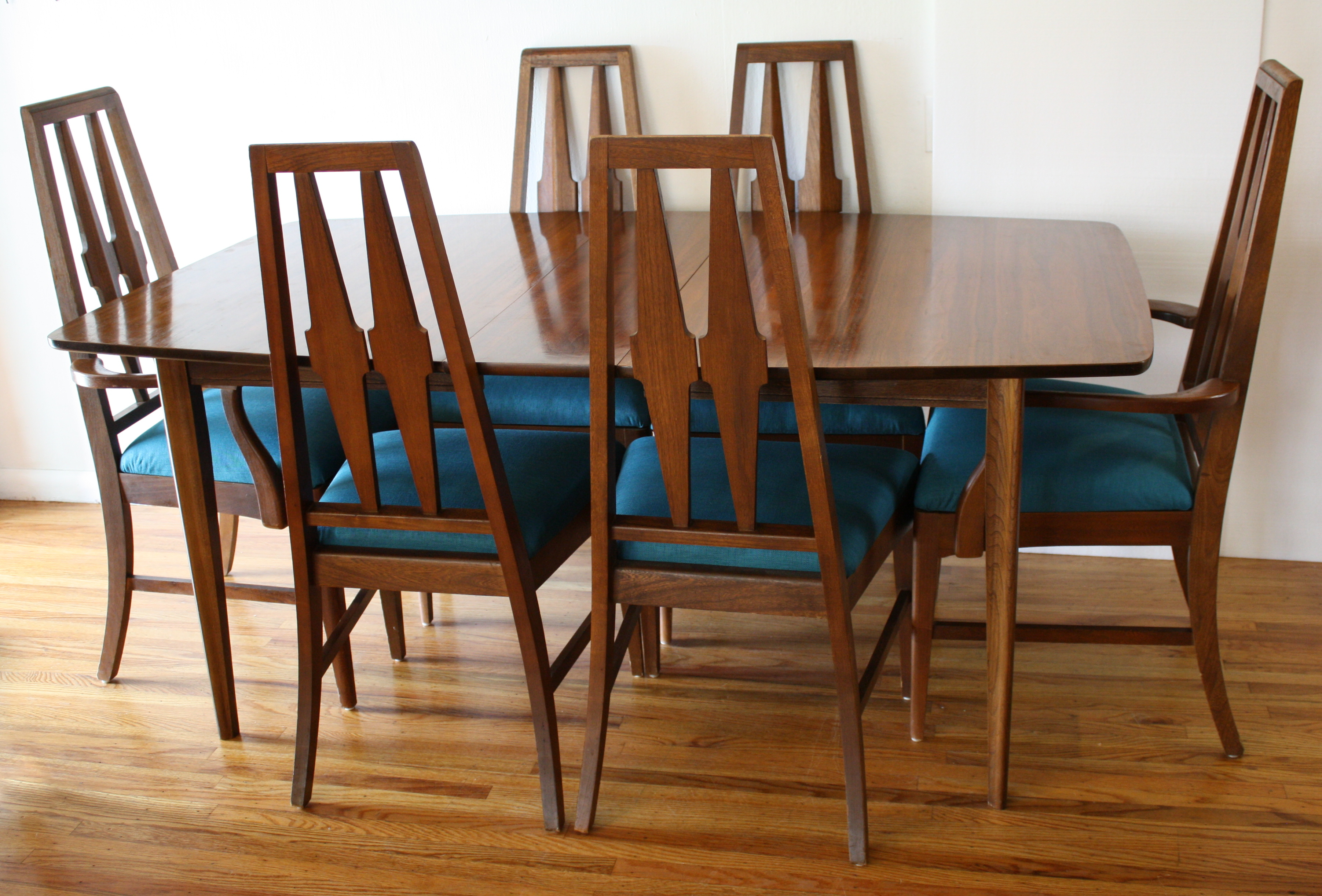 Mid century modern broyhill brasilia dining table and for Modern dining table and chairs