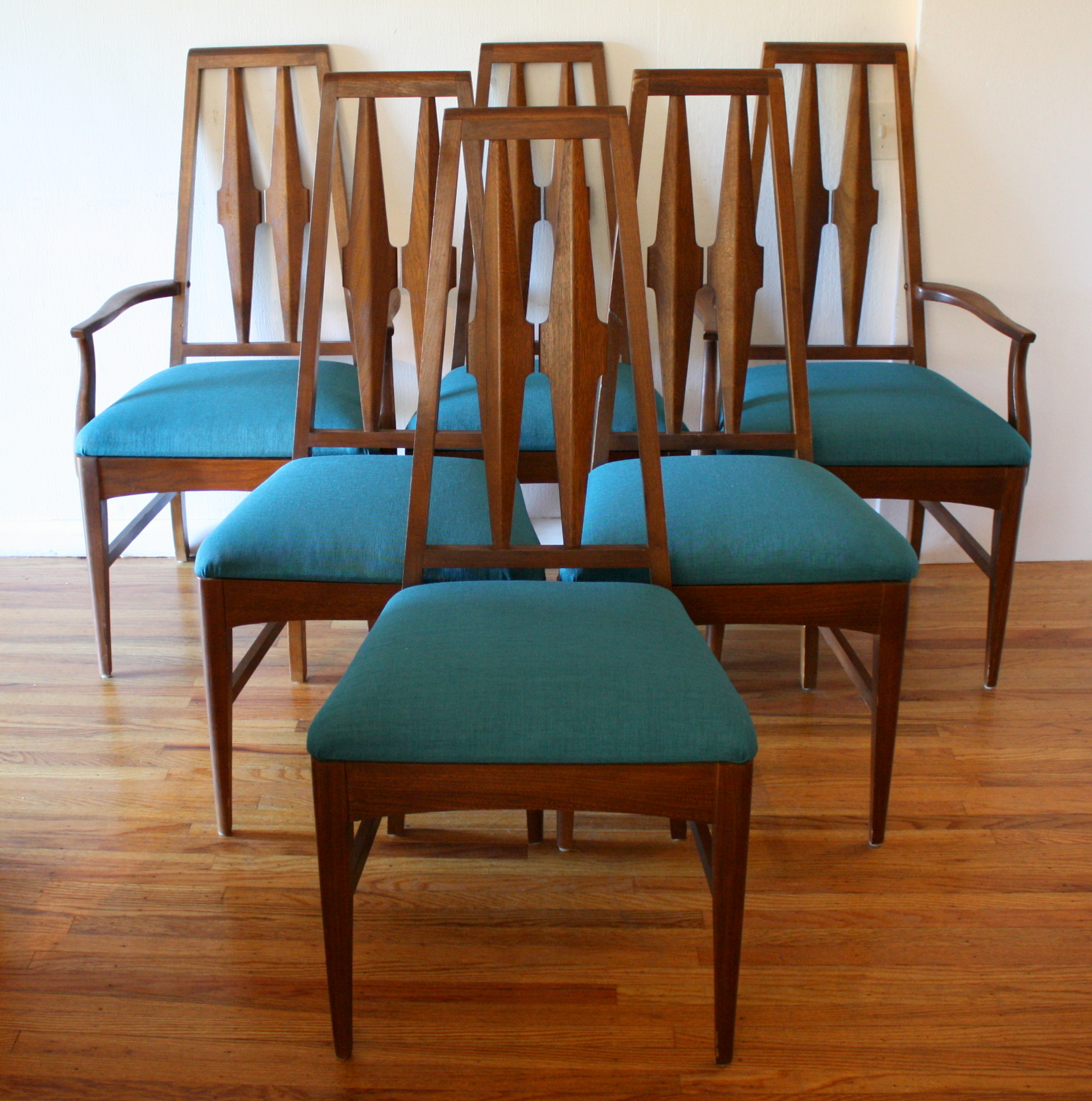 mcm 6 dining chairs teal tween sculpted backs 1