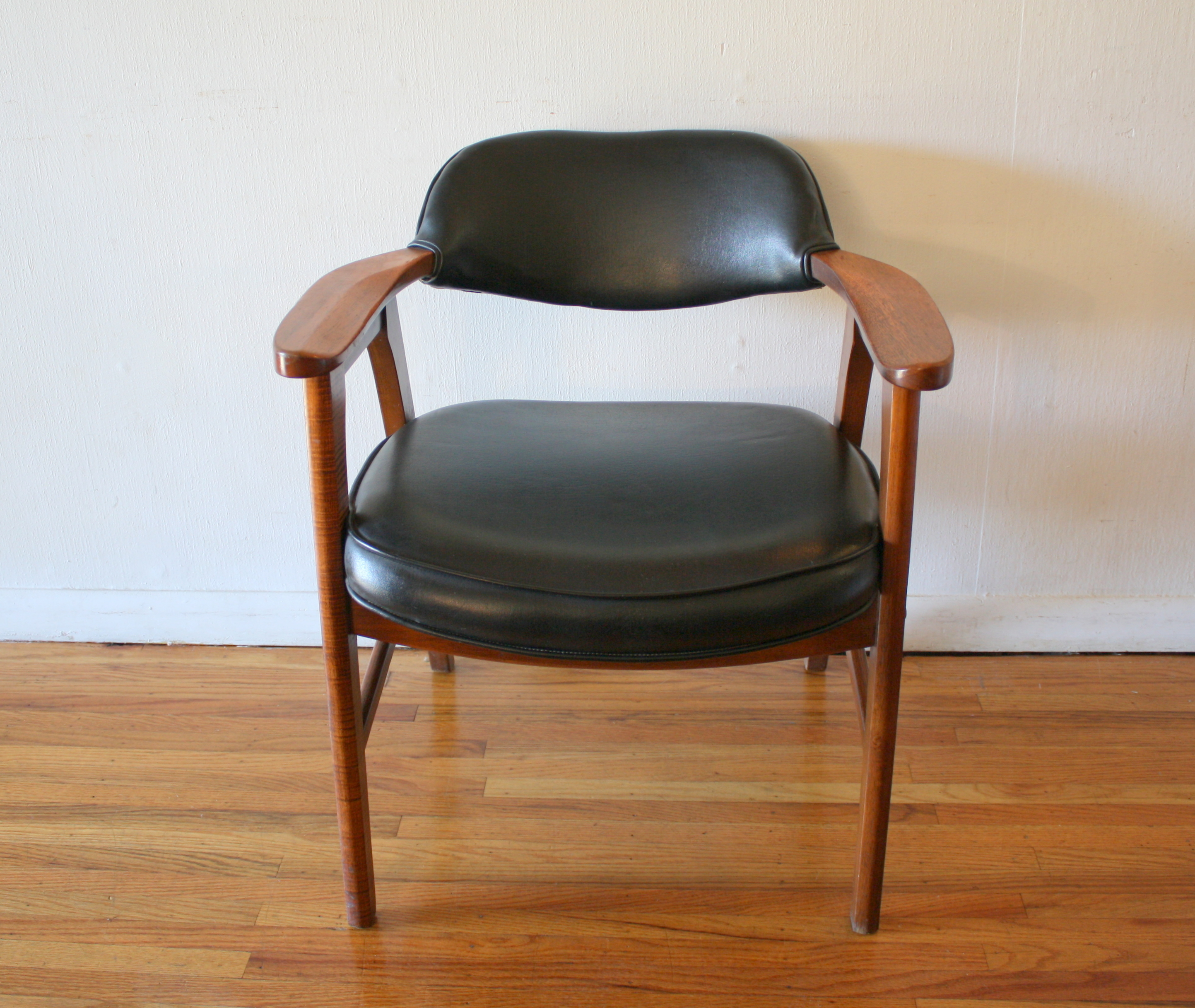 mcm arm chair black naugahyde 1