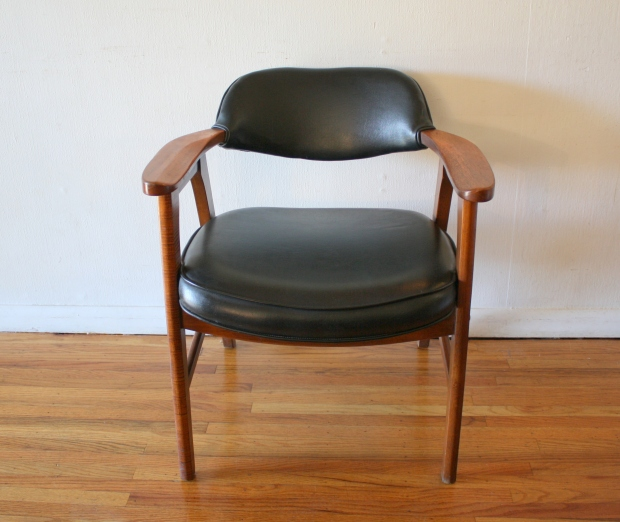 mcm arm chair black naugahyde 1