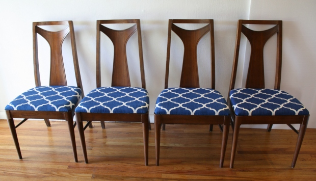 mcm dining chair set of 4 blue and white seats 1
