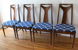 mcm dining chair set of 4 blue and white seats 2