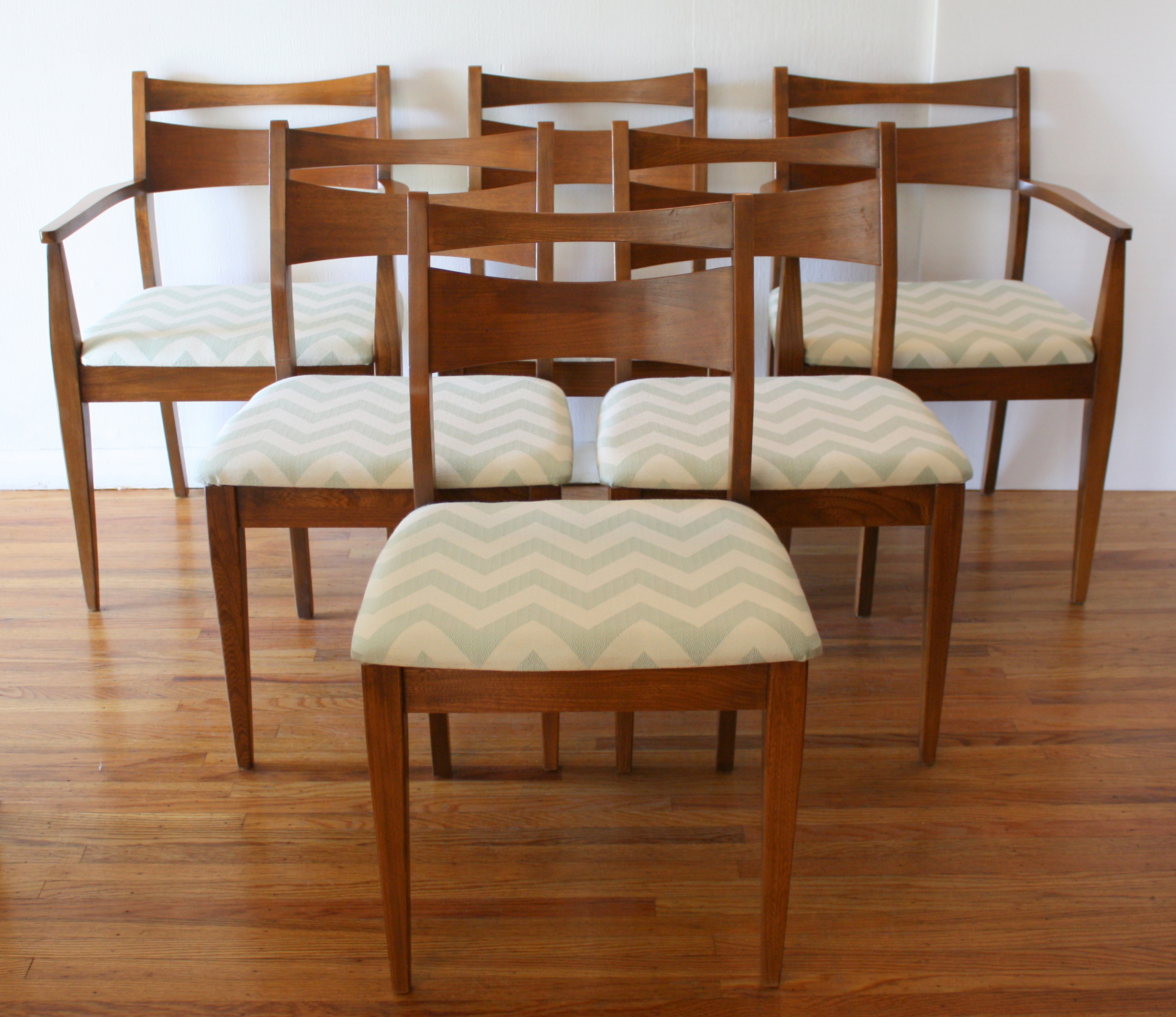 mcm dining chair set of 6 with aqua chevron 1