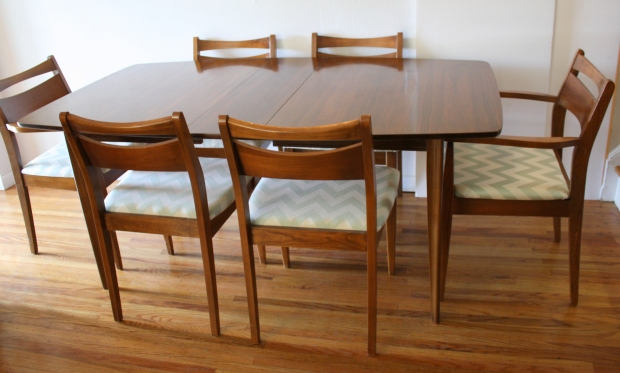 mcm house florence dining table vintage mid century and chairs chair set aqua chevron round canada