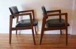 mcm pair of black naugahyde chairs 4