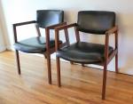 mcm pair of black naugahyde chairs 5