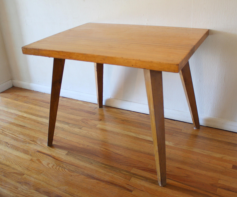 mcm splayed leg table with butcher block top 1.JPG