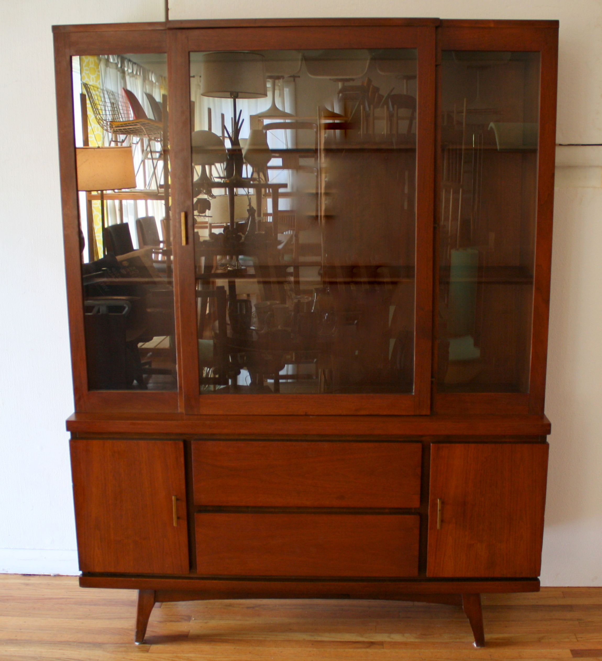 mid century modern china cabinet hutch 4 picked vintage