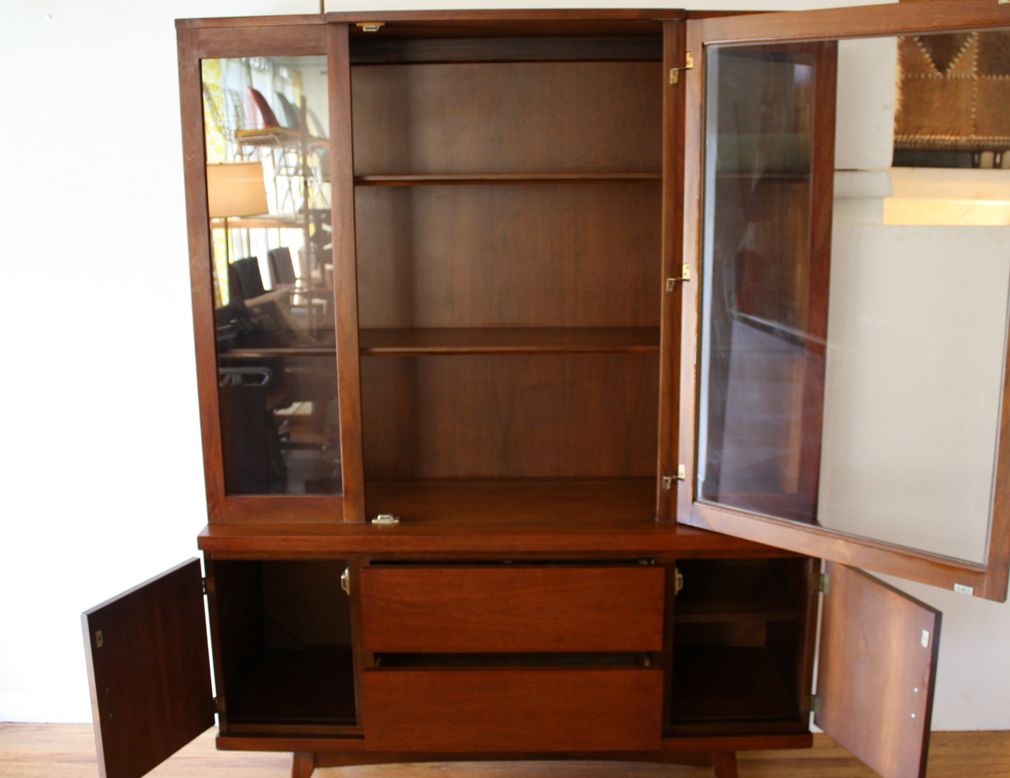 Mid Century Modern China Cabinet Hutch Picked Vintage