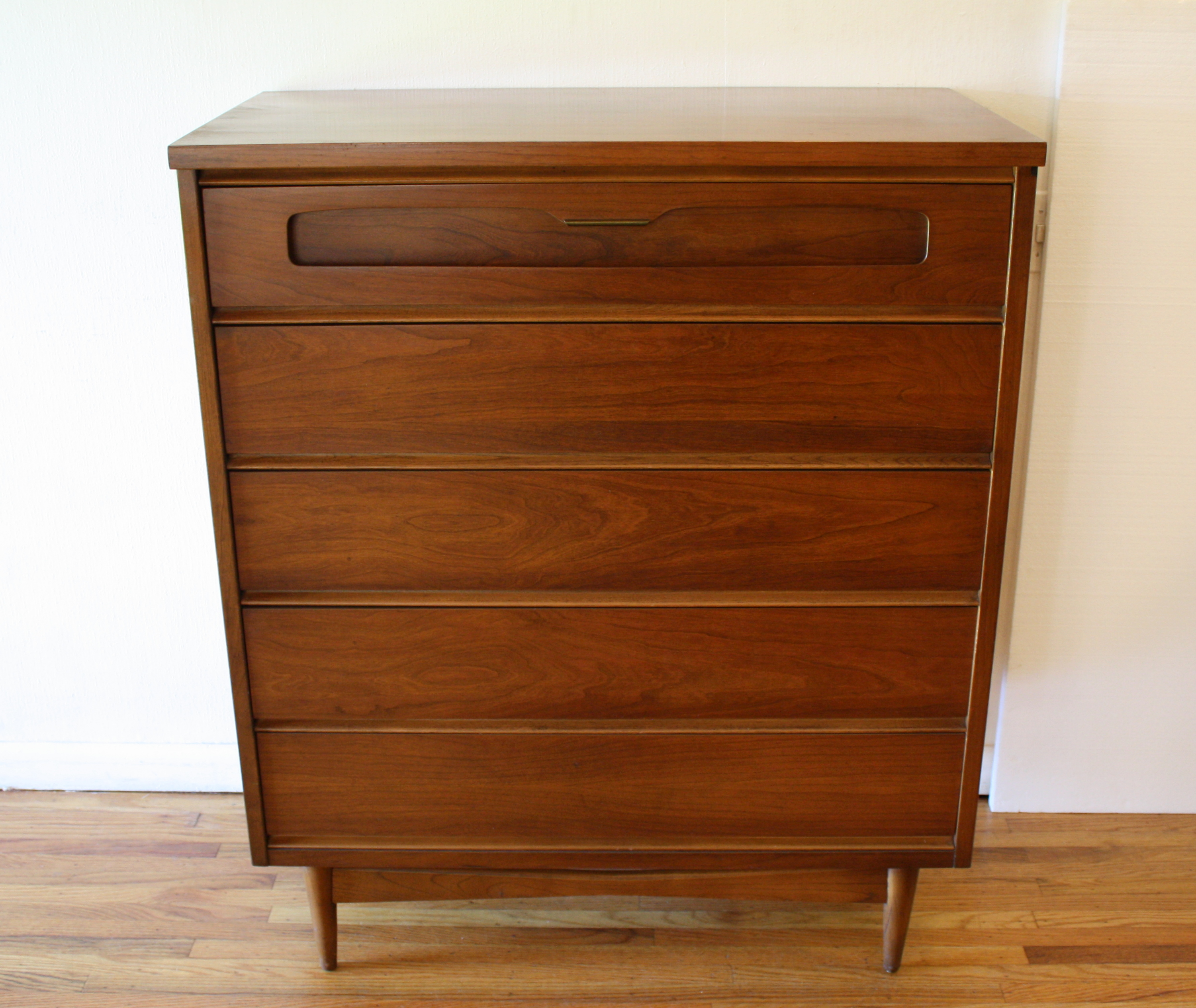 Bassett tall dresser sculpted top drawer 4