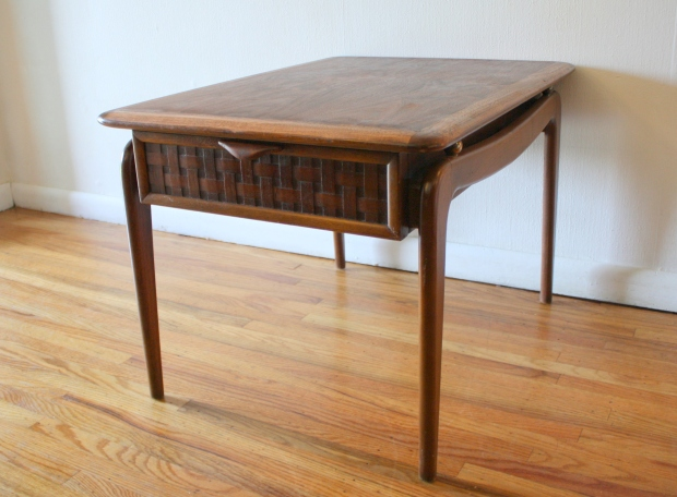 Lane perception side table wit basket weave drawer 1