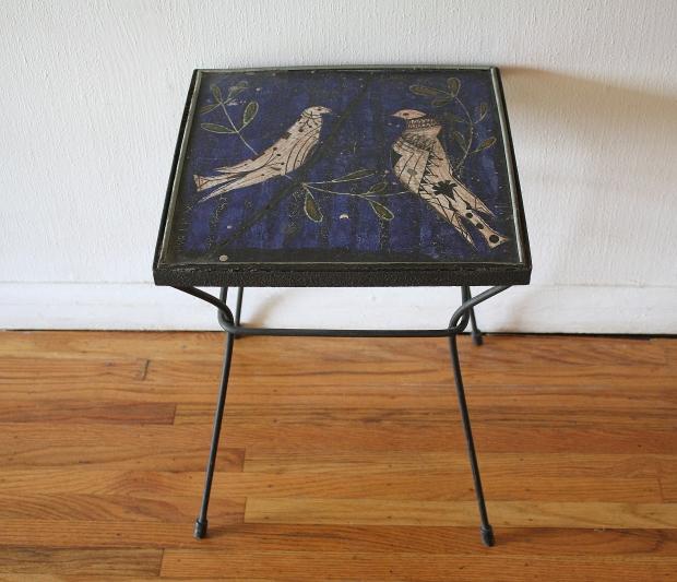 love bird cast iron tile table 2