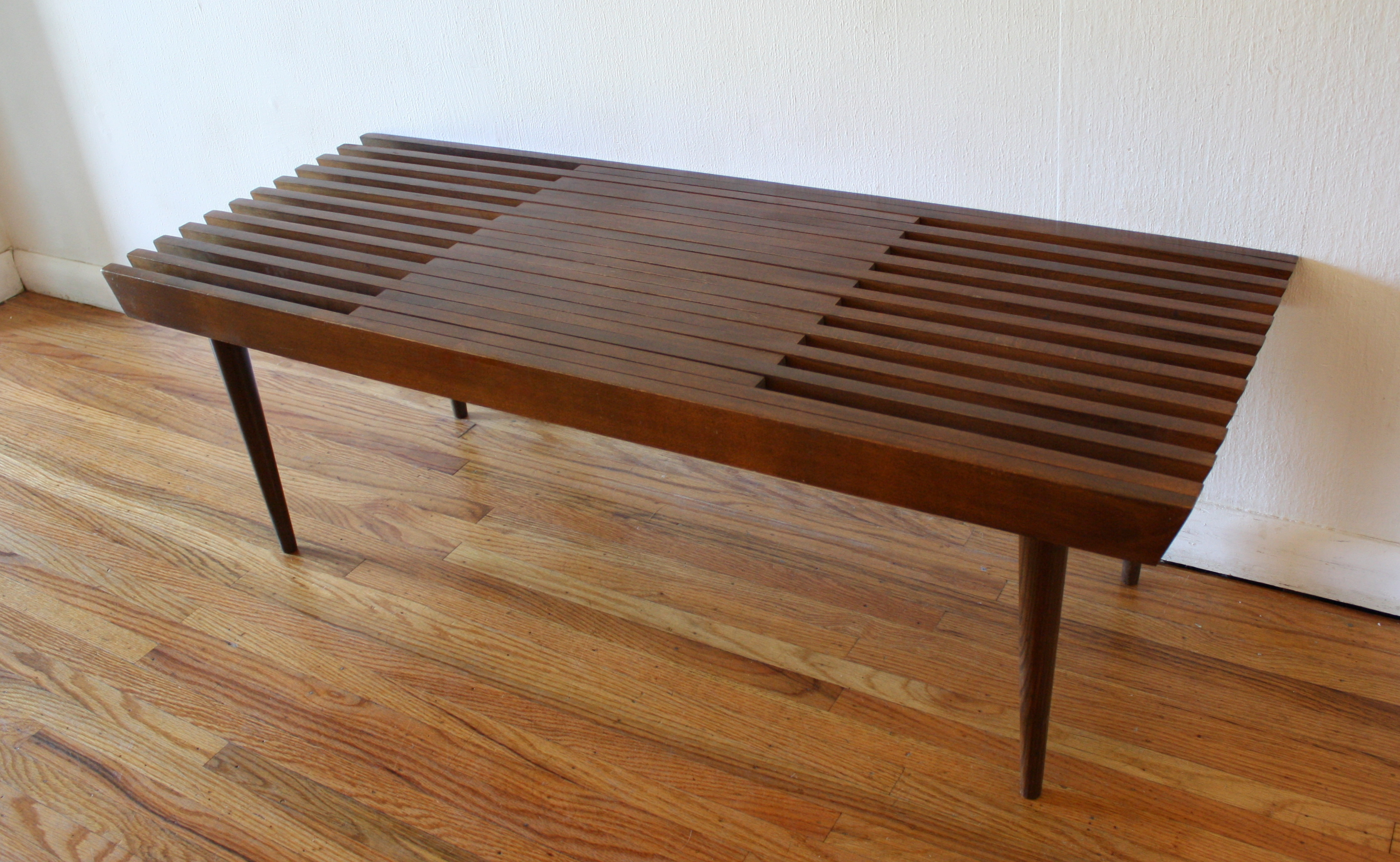 Mid Century Modern Slat Bench Part - 18: Mid Century Modern Extending Slatted Coffee Table Bench | Picked Vintage