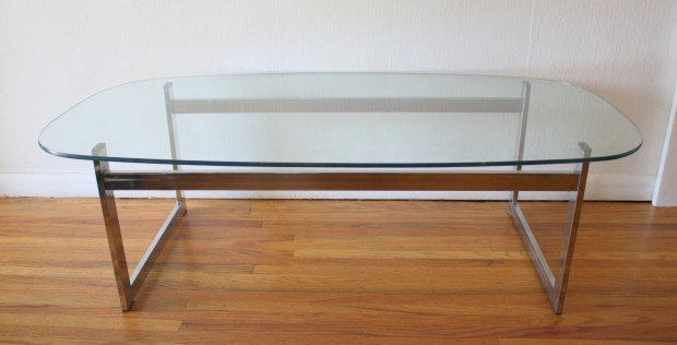 mcm glass and chrome coffee table 2