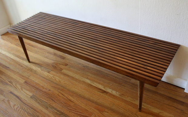 mcm long slatted table bench 2