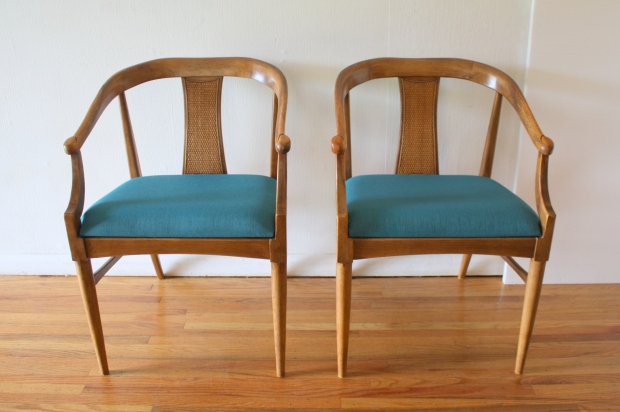 mcm pair of rattan arm chairs with teal tweed 1.JPG