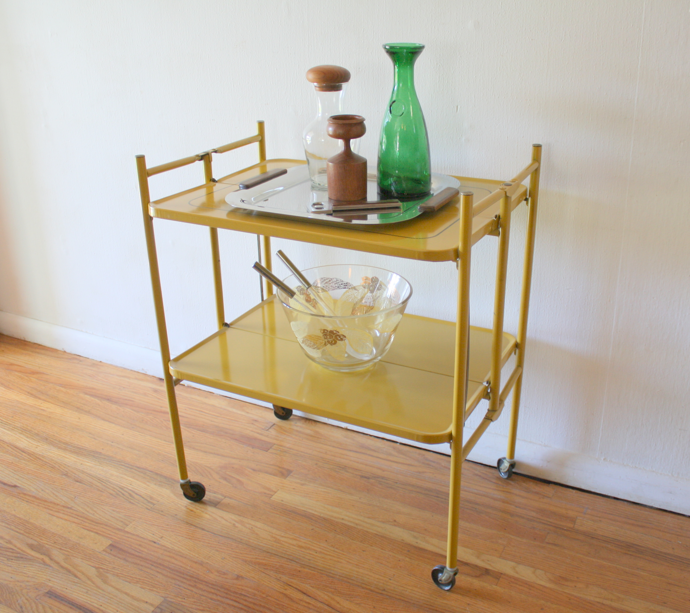 mcm yellow folding bar serving cart 4
