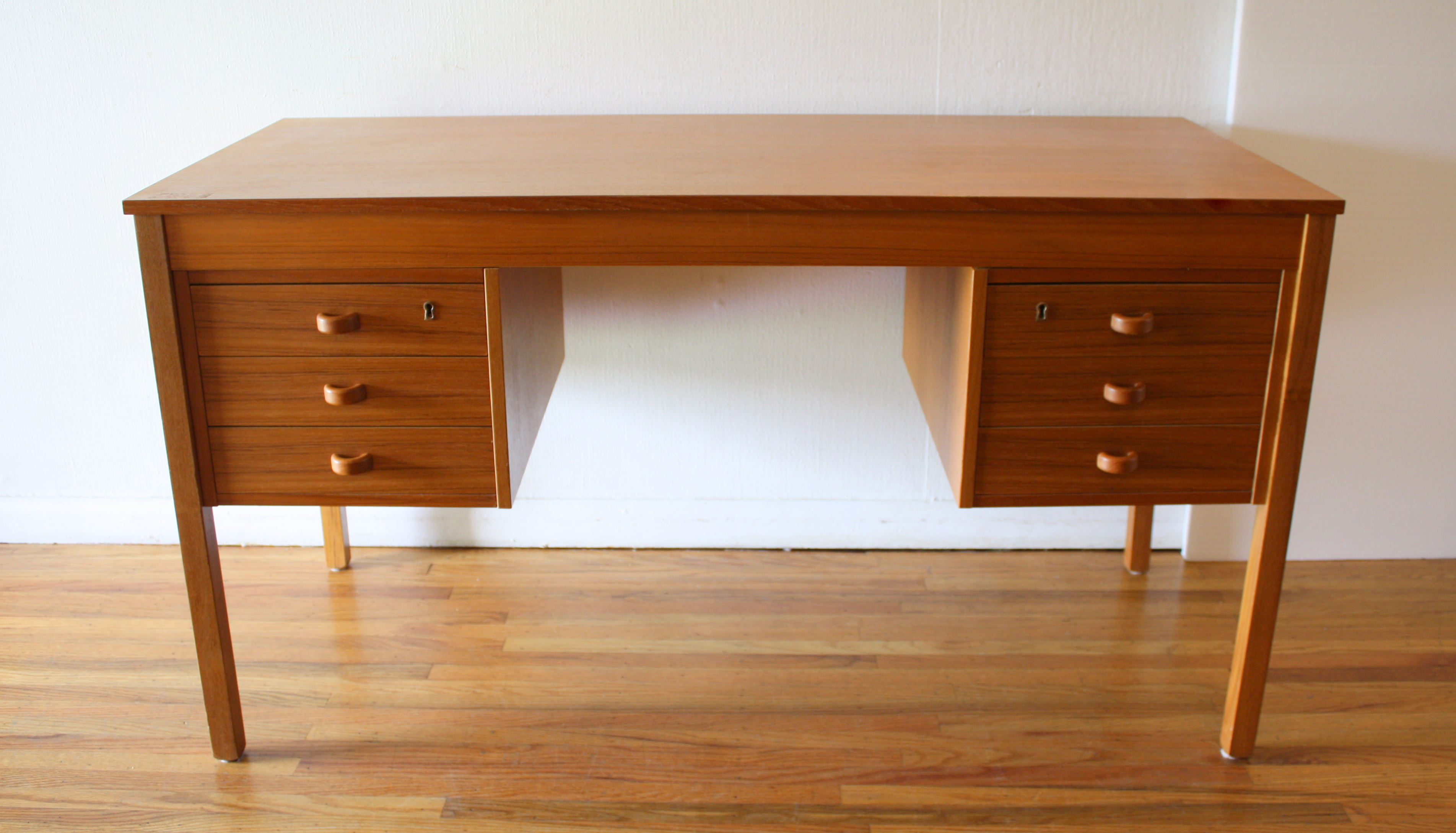 Mid Century Modern Danish Teak Desk Picked Vintage