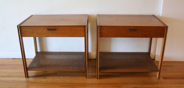 mcm pair of side end tables with rattan bottom shelves 1