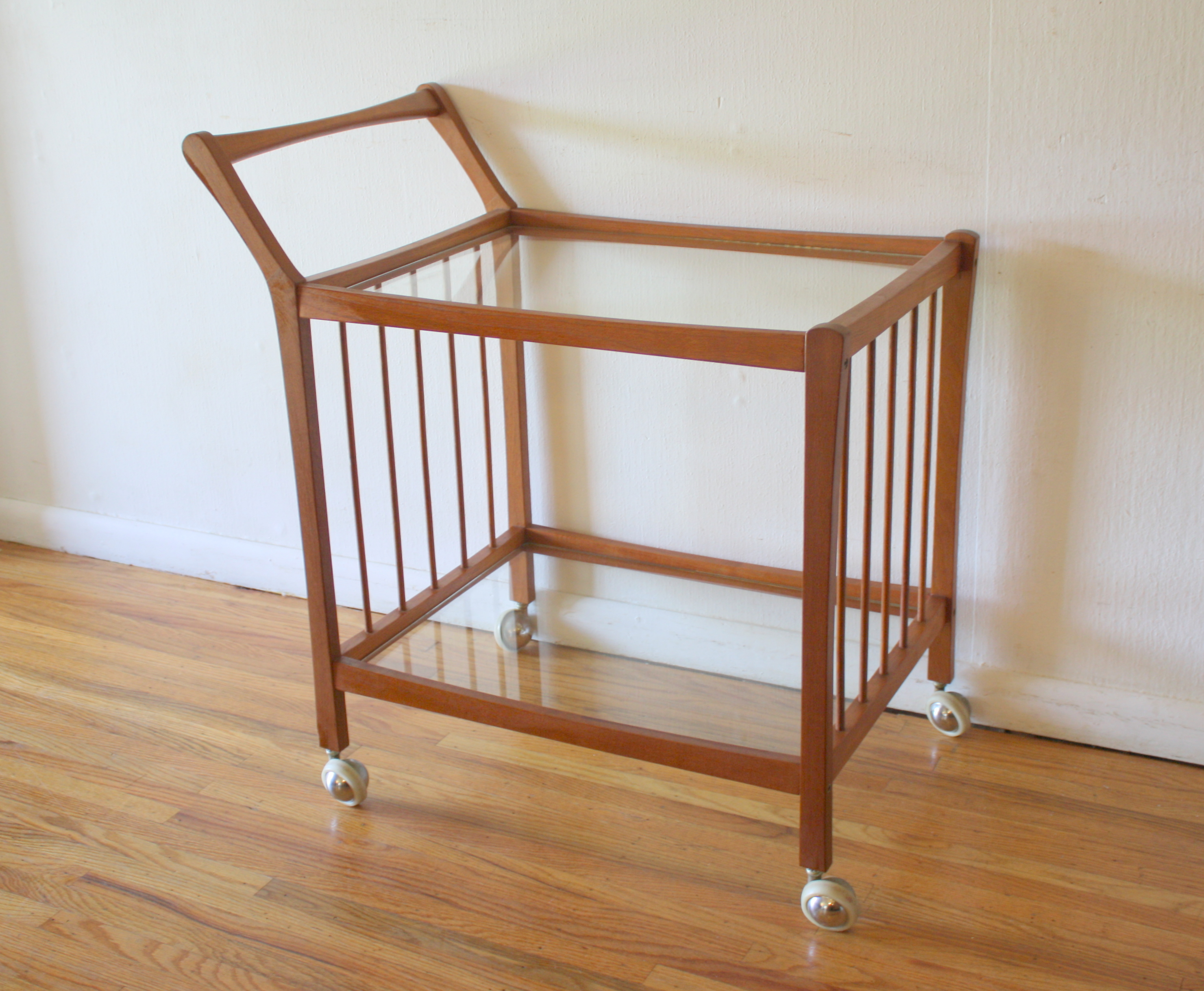 Danish teak serving bar cart 1