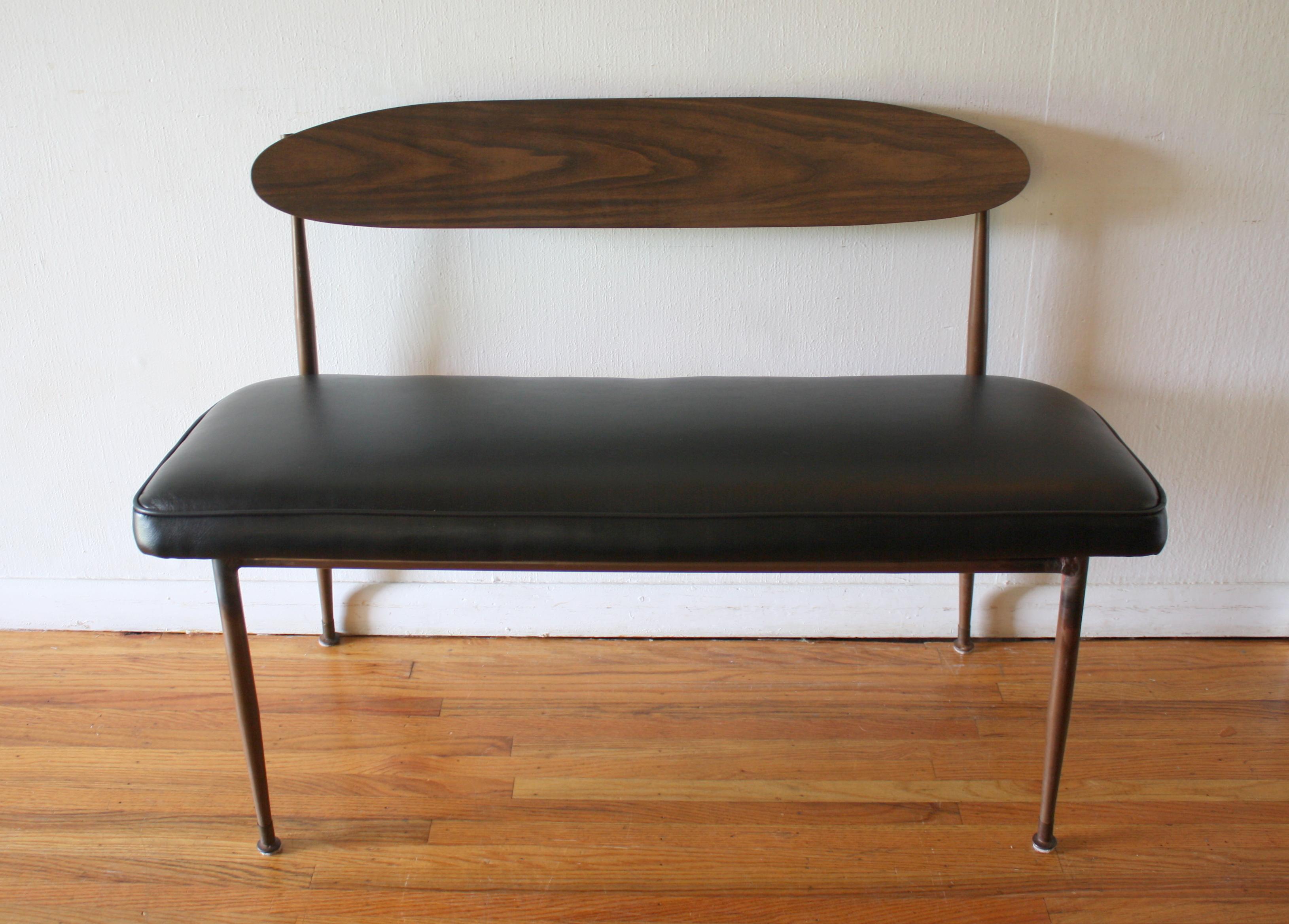 mcm black naugahyde bench 1