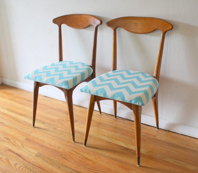 mcm pair of chairs with turquoise chevron 1