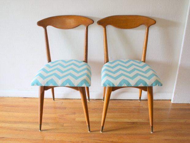 mcm pair of chairs with turquoise chevron 2