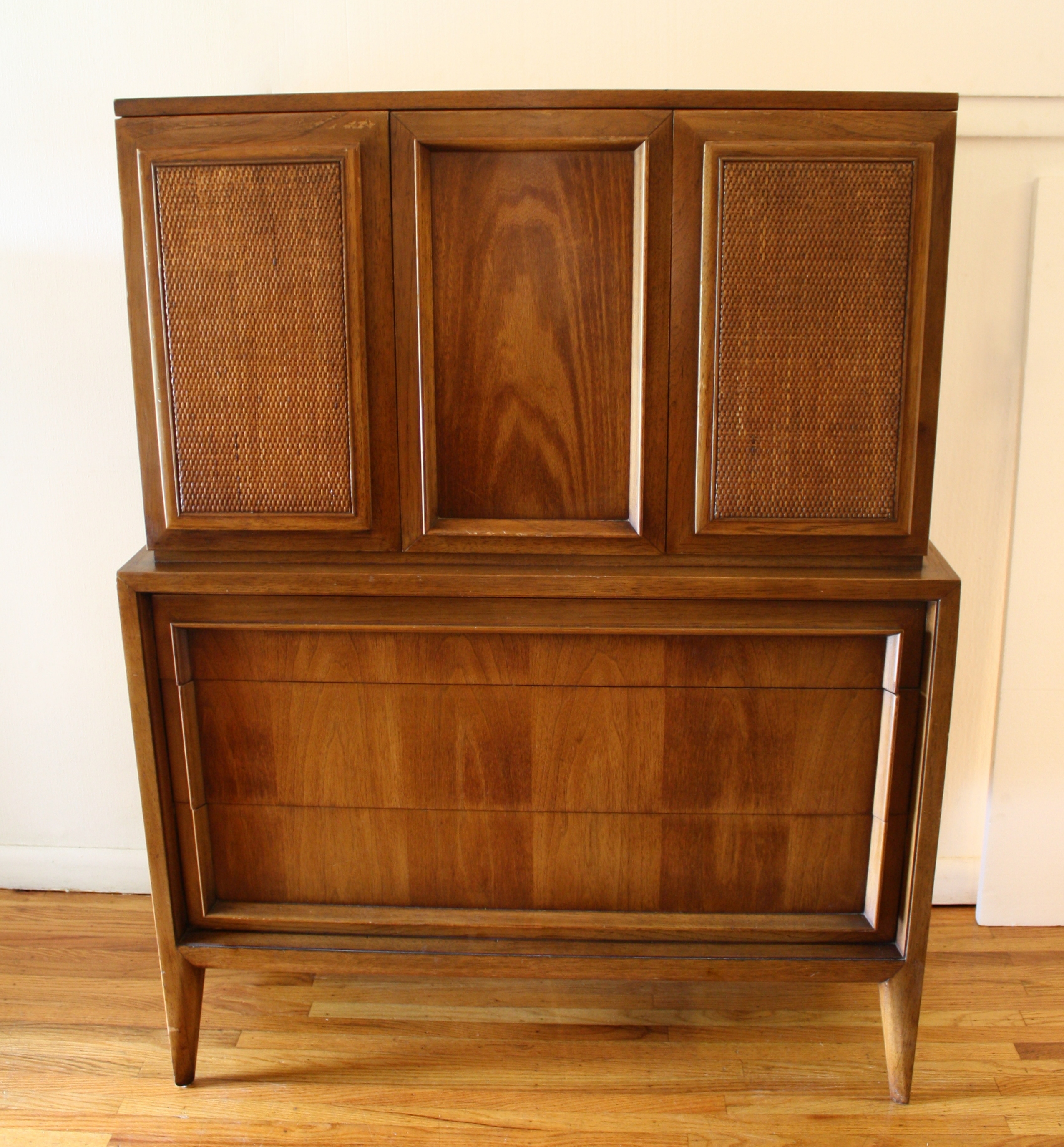 mcm armoire tall dresser with rattan doors 1