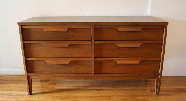 mcm low dresser credenza with sculpted wood handles 1