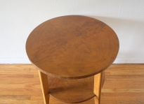 mcm round side end table with burl design 1