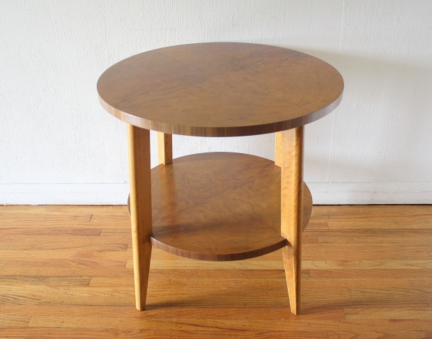 mcm round side end table with burl design 2.JPG